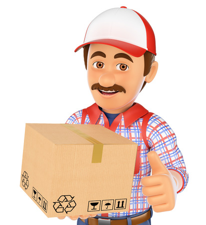 carry on: 3d working people. Delivery man with a box. Isolated white background.