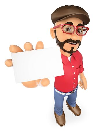 style goatee: 3d working people. Film director showing a blank card. Isolated white background.