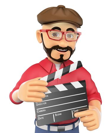 film director: 3d show business people. Film director with a clapperboard. Isolated white background. Stock Photo