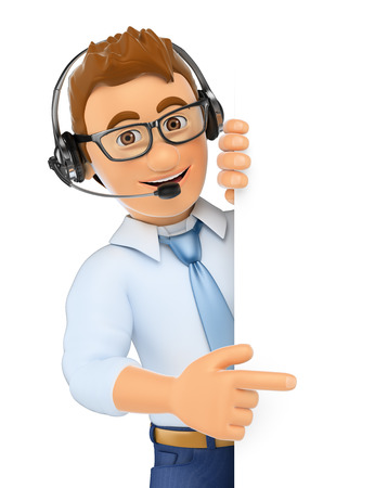 man at the phone: 3d business people. Call center worker pointing aside. Blank space. Isolated white background.