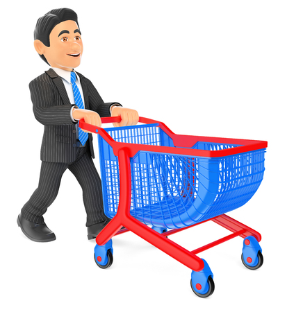 shoppers: 3d business people. Businessman pushing a shopping cart. Isolated white background.
