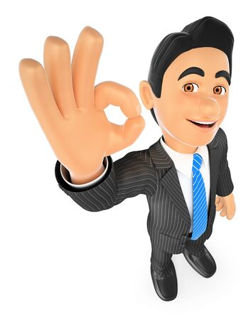 smiling businessman: 3d business people. Businessman with ok sign in hand. Isolated white background. Stock Photo