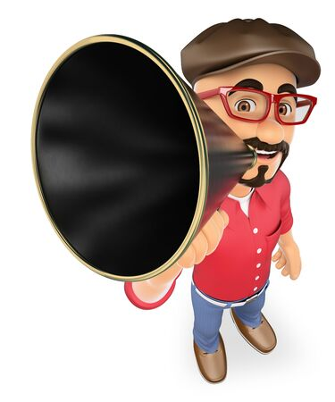 artists: 3d show business people. Film director talking on a megaphone. Isolated white background. Stock Photo