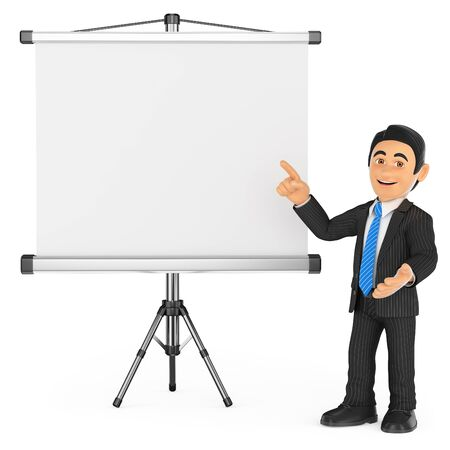 tripod projector: 3d business people. Businessman with a blank projector screen. Isolated white background. Stock Photo