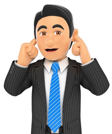 worried executive: 3d business people. Businessman covering his ears. Isolated white background.