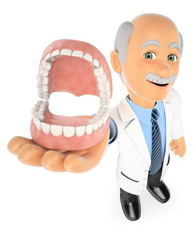 dentist: 3d medical people. Dentist showing a denture. Isolated white background.