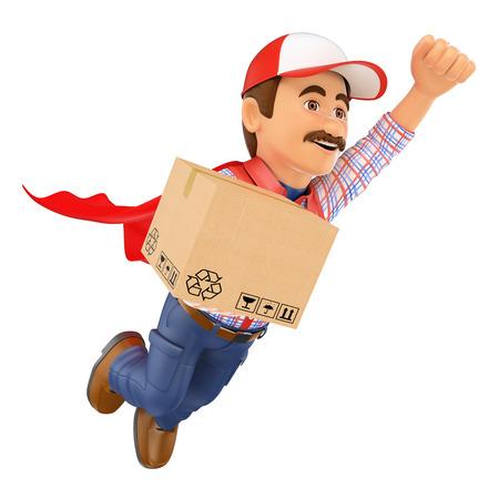 3d werkende mensen. Super Delivery man met een doos. Geïsoleerde witte achtergrond. Stockfoto