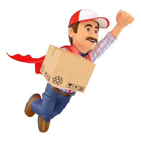 super man: 3d working people. Super Delivery man with a box. Isolated white background.