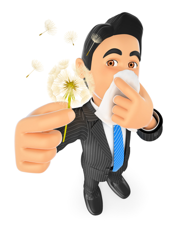pollen: 3d business people. Businessman with pollen allergy. Spring. Isolated white background.