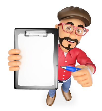 show business: 3d show business people. Film director with blank clipboard and a pen. Isolated white background. Stock Photo