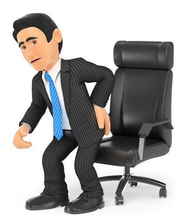man sit: 3d business people. Businessman with back pain. Isolated white background.