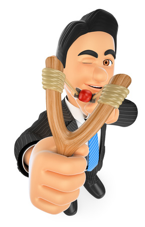 slingshot: 3d business people. Businessman aiming with a slingshot. Accuracy concept. Isolated white background.