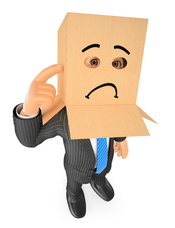 3d business people. Businessman with cardboard box on head. Sad. Isolated white background.