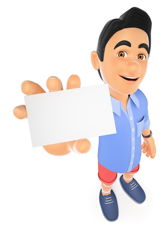 3d young people. Man in shorts with a blank card. Isolated white background.
