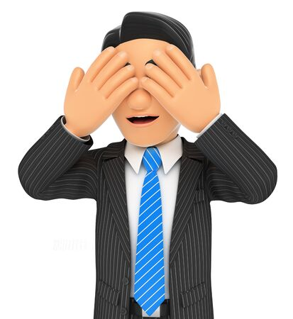 covering eyes: 3d business people. Businessman covering his eyes. Isolated white background.
