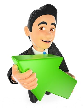 economic development: 3d business people. Businessman with a big green arrow. Isolated white background.