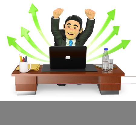 persona feliz: la gente de negocios 3d. Hombre de negocios en su oficina. Éxito. Las flechas verdes. fondo blanco aislado. Foto de archivo