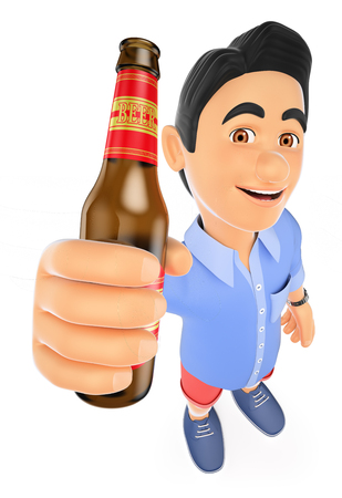 3d young people. Man in shorts with a bottle of beer. Isolated white background.