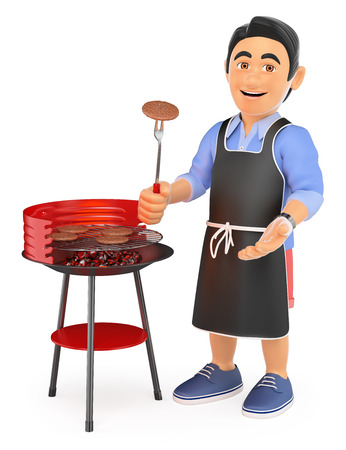 plimsolls: 3d young people. Man in shorts cooking on a barbecue. Isolated white background.