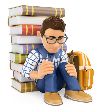 children book: 3d education people. Young student depressed. Bullying. Isolated white background.