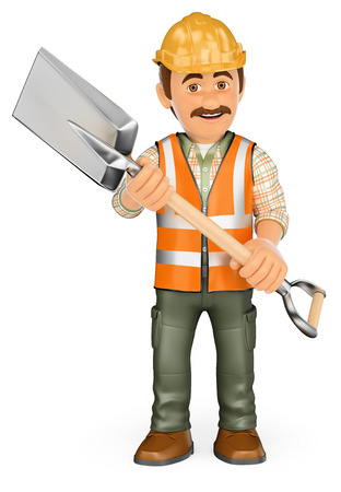 vest in isolated: 3d working people. Construction worker with a shovel and reflective vest. Isolated white background.
