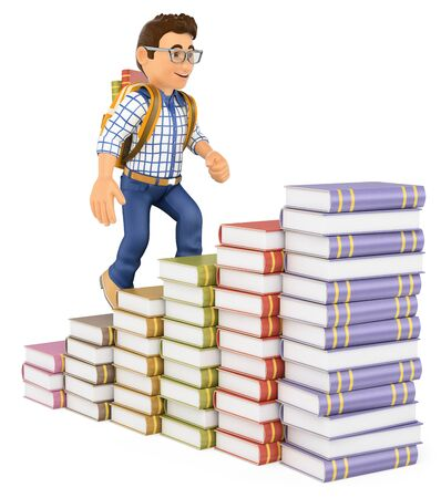 3d education people. Young student climbing a books bar graph. Isolated white background.