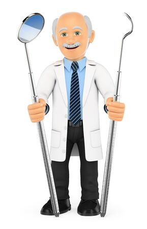 scaler: 3d medical people. Dentist with mouth mirror and periodontal scaler. Isolated white background.