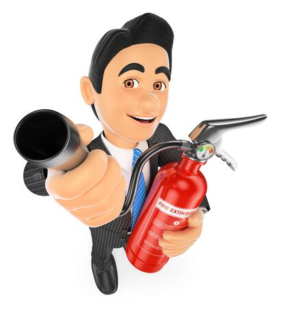 prevention: 3d business people. Businessman with a fire extinguisher. Occupational risk prevention. Isolated white background.