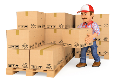 package deliverer: 3d working people. Storekeeper stacking boxes in a warehouse. Isolated white background.