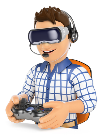 gamer: 3d young people. Young gamer playing with virtual reality glasses and gamepad. VR. Isolated white background.
