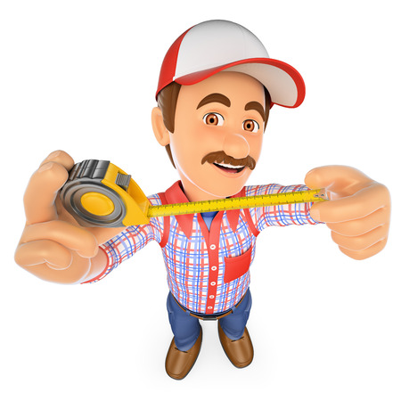 tapes: 3d working people. Handyman with with a tape measure. Isolated white background.