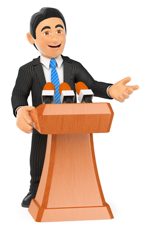 3d business people. Businessman lecturing. Conference. Isolated white background.