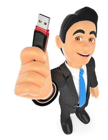 usb: 3d business people. Businessman with a pen drive. USB stick. Isolated white background. Stock Photo