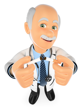 no people: 3d medical people illustration. Doctor breaking a cigarette. No Smoking. Isolated white background. Stock Photo