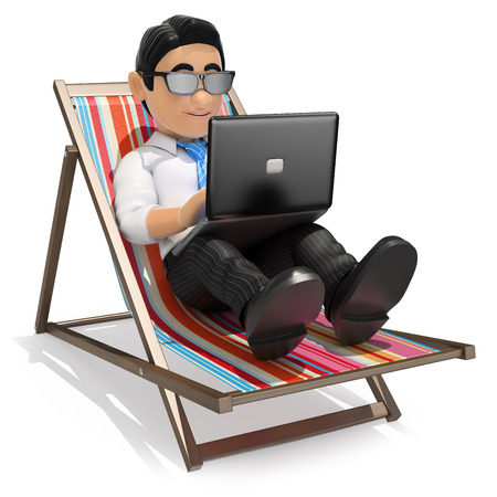 young business man: 3d business people illustration. Businessman in deckchair working in the beach with his laptop. Isolated white background. Stock Photo