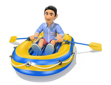 3d young people illustration. Man in shorts paddling a inflatable boat. Isolated white background. Stock Photo