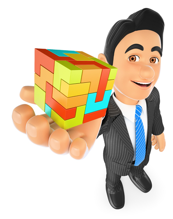 accomplish: 3d business people illustration. Businessman with a cube. Create concept. Isolated white background.