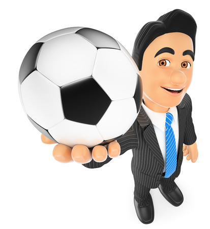 3d business people illustration. Businessman with a football ball. Isolated white background.