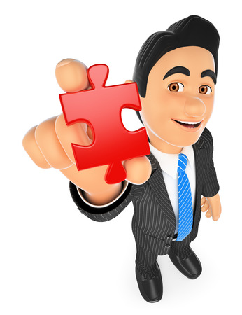 contemplate: 3d business people illustration. Businessman with a puzzle piece. Isolated white background. Stock Photo