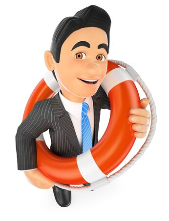 rescue: 3d business people illustration. Businessman with a lifesaver. Bailout. Financial rescue. Isolated white background.