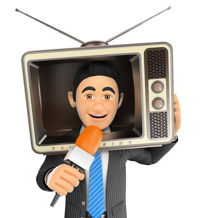 vintage television: 3d business people illustration. Reporter with a vintage television in the head and microphone. Isolated white background.