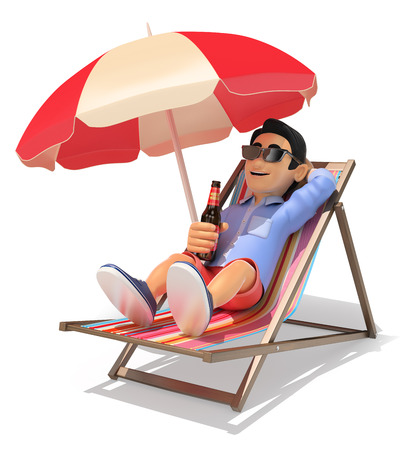 3d young people illustration. Man in shorts on a deckchair in the beach drinking beer. Isolated white background. Foto de archivo