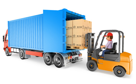 3d working people illustration. Worker driving a forklift loading a container truck. Isolated white background.