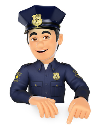 patrolman: 3d security forces people illustration. Policeman pointing down. Blank space. Isolated white background. Stock Photo
