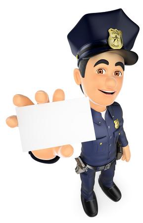 3 d のセキュリティは、人々 の図を強制します。ブランク カードで 3 D の警官。孤立した白い背景。