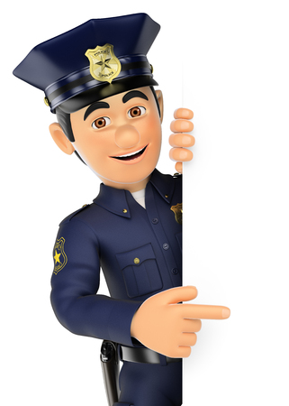aside: 3d security forces people illustration. Policeman pointing aside. Blank space. Isolated white background. Stock Photo