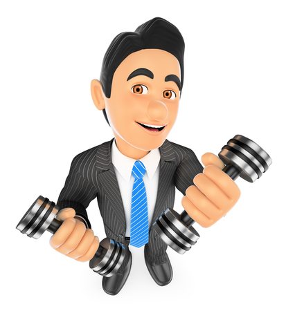 overcoming: 3d business people illustration. Businessman exercising with two dumbbells fitness. Overcoming. Isolated white background.