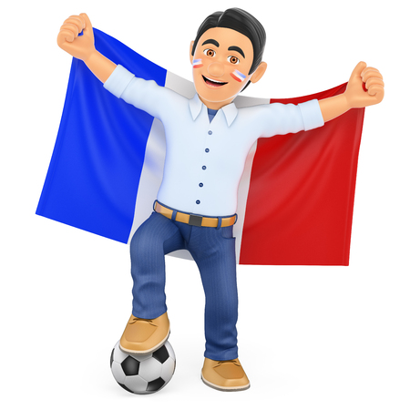supporter: 3d sport people illustration. Football fan with the flag of France. Isolated white background. Stock Photo