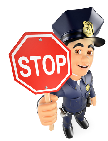 gun control: 3d security forces people illustration. Policeman with a stop sign. Isolated white background. Stock Photo