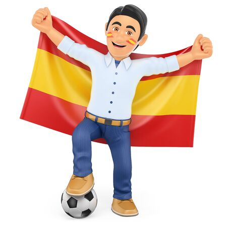 football fan: 3d sport people illustration. Football fan with the flag of Spain. Isolated white background. Stock Photo